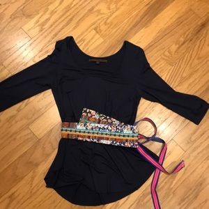 Anthropologie waist tie blouse